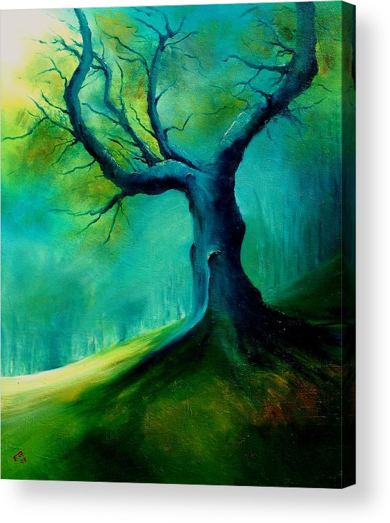 Landscape Acrylic Print featuring the painting Light On A Dead Tree by Veronique Radelet