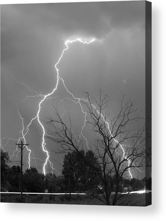Lightning Acrylic Print featuring the photograph Lightning Storm On 17th Street Bw Fine Art Print by James BO Insogna