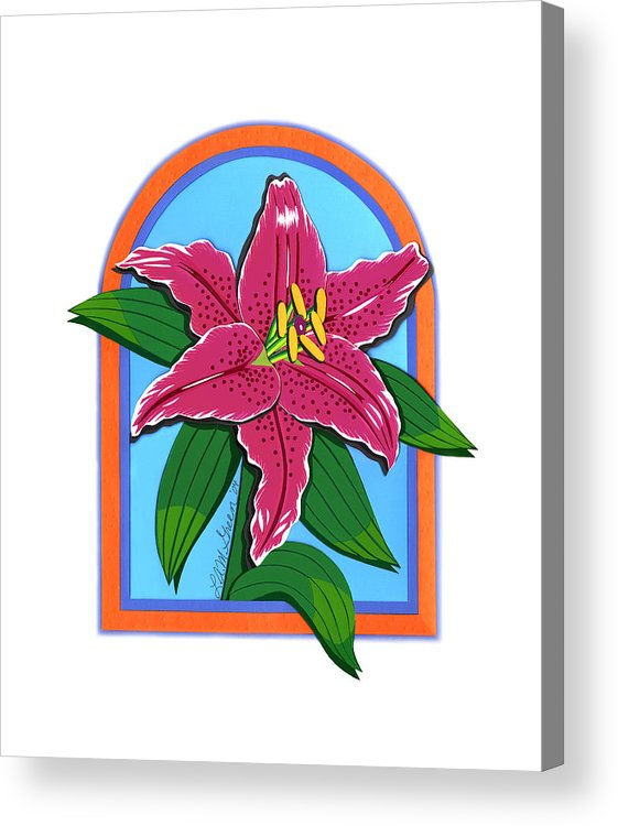 Nature Acrylic Print featuring the drawing Lily Too by Lucyna A M Green