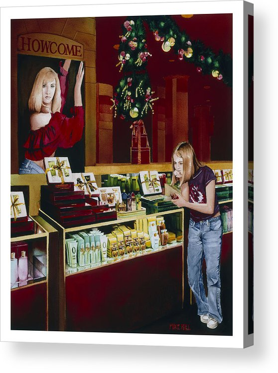 Shopping Mall Christmas Cosmetics Store Dream Love Perfume Lotion Makeup Hair Package Young Girl Acrylic Print featuring the painting Little Girl Christmas Dreams by Mike Hill