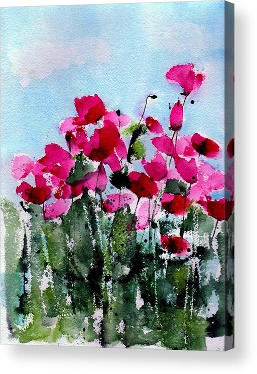 Poppies Acrylic Print featuring the painting Maddy's Poppies by Anne Duke
