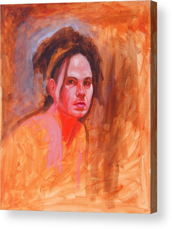 Portrait Acrylic Print featuring the painting Maza by John Tartaglione