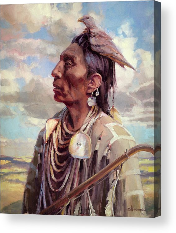 Native American Acrylic Print featuring the painting Medicine Crow by Steve Henderson