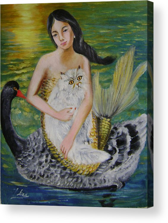 Surrealist Acrylic Print featuring the painting Mermaid And Swan by Lian Zhen