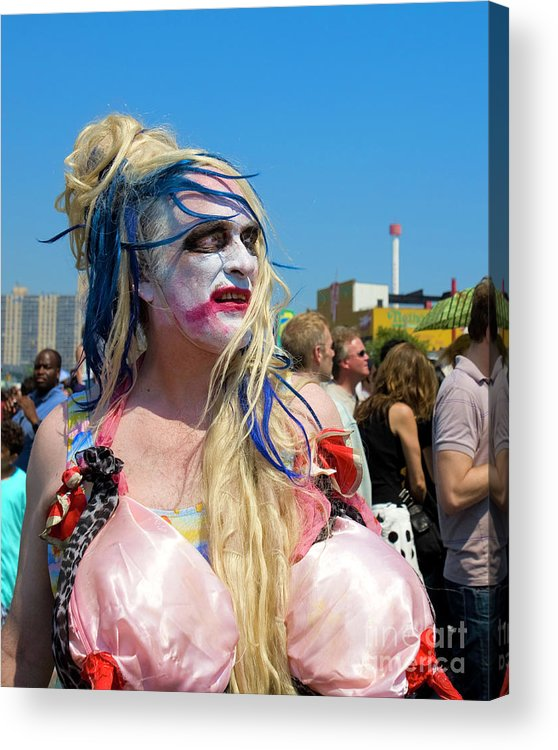 Man Acrylic Print featuring the photograph Mermaid Parade Man In Coney Island by Madeline Ellis