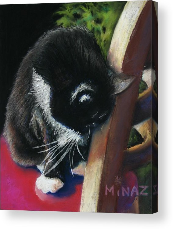 Cat Acrylic Print featuring the painting Kitty Chair by Minaz Jantz