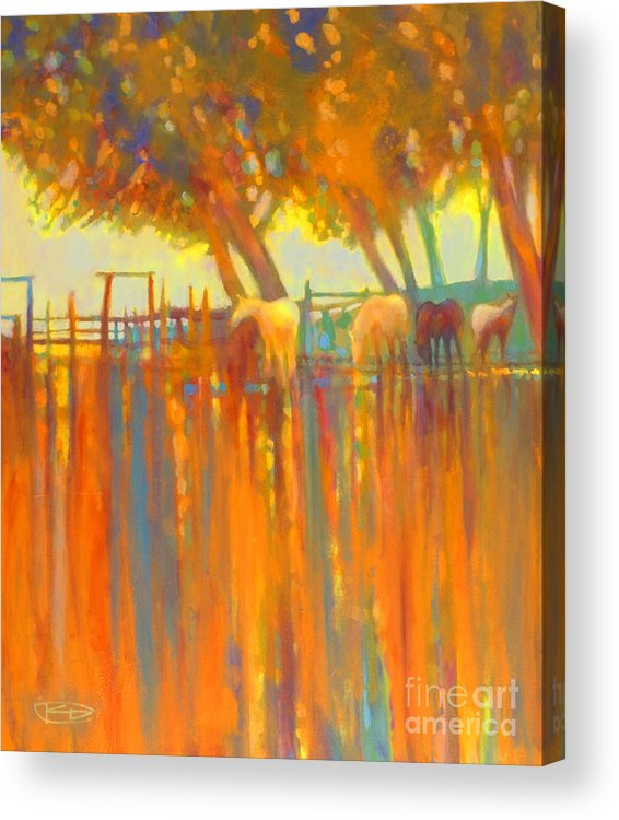 Horse Painting Acrylic Print featuring the painting Morning Shadows by Kip Decker