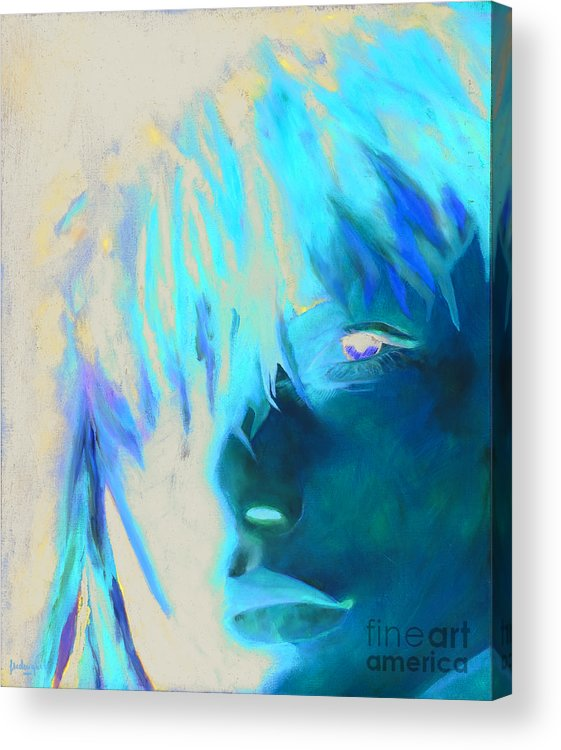 Portrait Acrylic Print featuring the painting Naked Eye by Krzis-Lorent Frederique