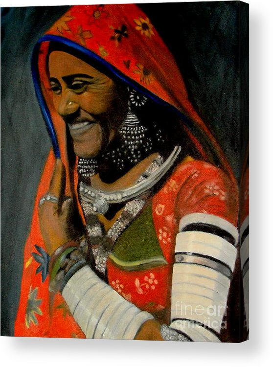 Portrait Acrylic Print featuring the painting Portrait-2 by Emrazina Prithwa
