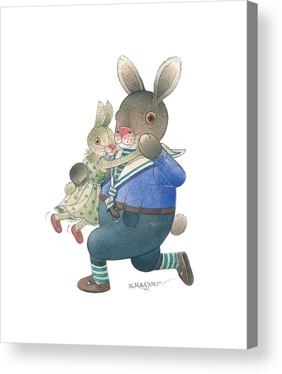 Dance Music Love Rabbit Acrylic Print featuring the painting Rabbit Marcus The Great 28 by Kestutis Kasparavicius