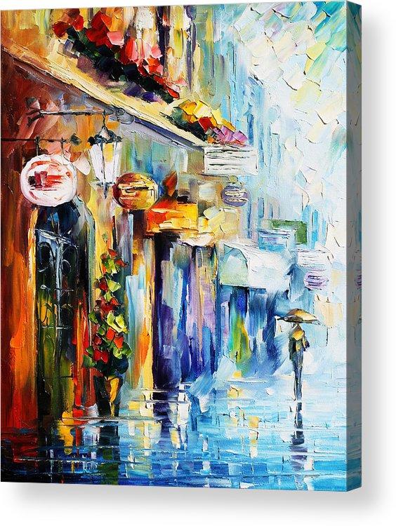 Afremov Acrylic Print featuring the painting Rainy Stroll by Leonid Afremov