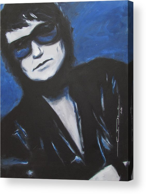 Celebrity Portrait Acrylic Print featuring the painting Roy Orbison In Beautiful Dreams - Forever by Eric Dee