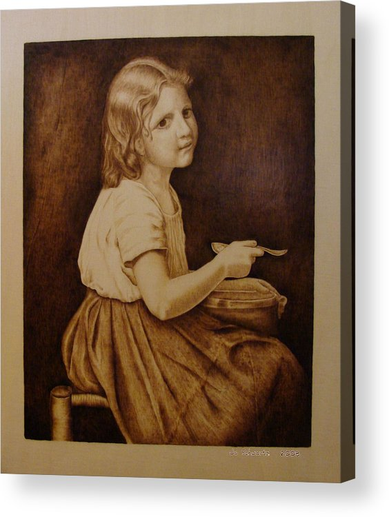 Portrait; Soup; Stool; Spoon; Sepia; Skirt; Acrylic Print featuring the pyrography Soup by Jo Schwartz