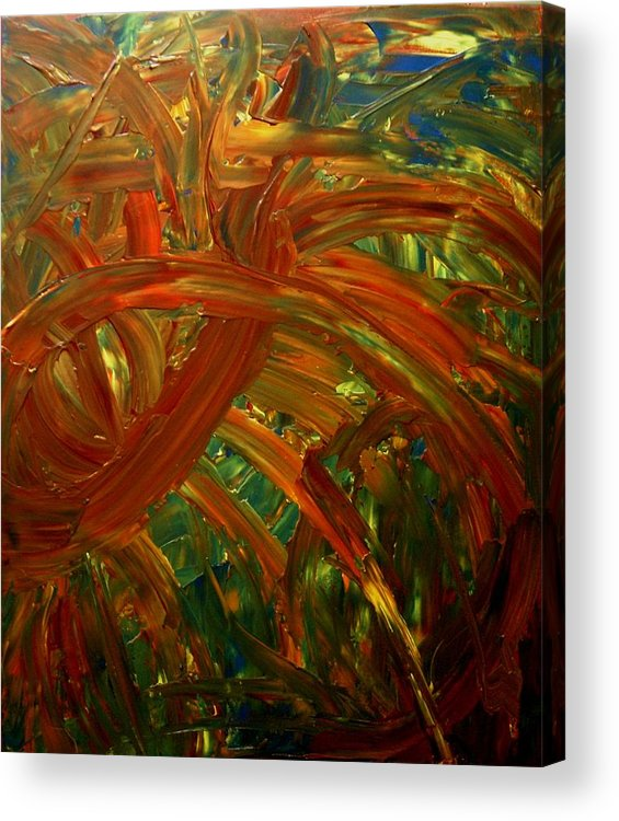 Abstract Acrylic Print featuring the painting Speyedr In The Grass by Karen L Christophersen