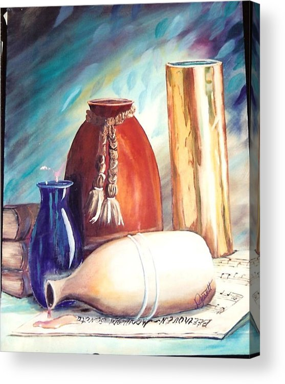 Vase Acrylic Print featuring the painting Spill Over Beethoven by Joan Gossett