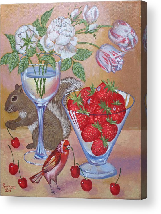 Food Acrylic Print featuring the painting Squirrel Cherry .2006 by Natalia Piacheva