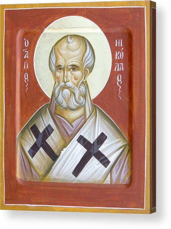 St Nicholas Of Myra Acrylic Print featuring the painting St Nicholas Of Myra by Julia Bridget Hayes
