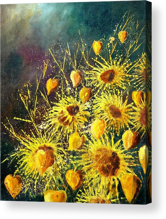 Flowers Acrylic Print featuring the painting Sunflowers by Pol Ledent