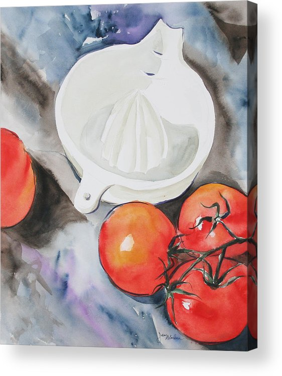 Tomatoes Acrylic Print featuring the painting Sunshine On The Vine by Jean Blackmer