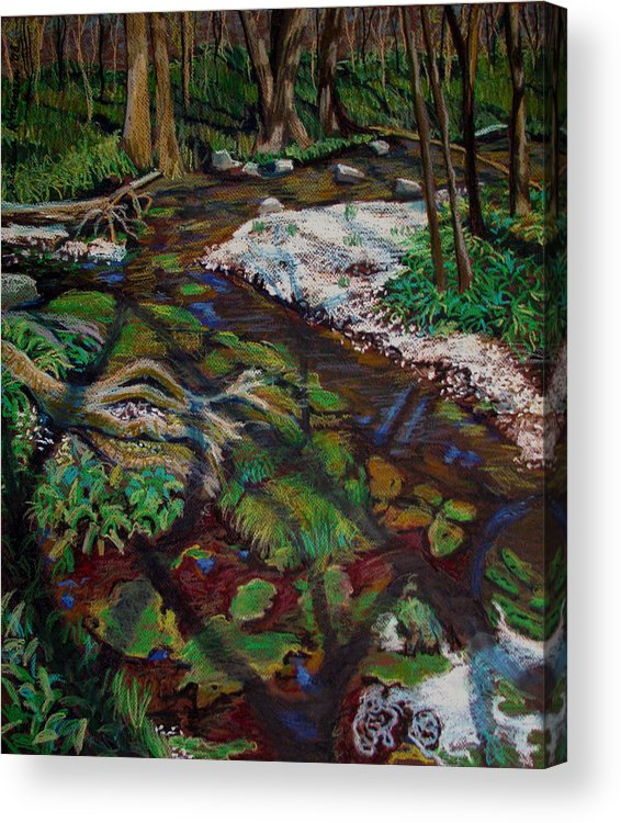 Swamp Acrylic Print featuring the painting Swamp Moss Shadows by Art Nomad Sandra Hansen