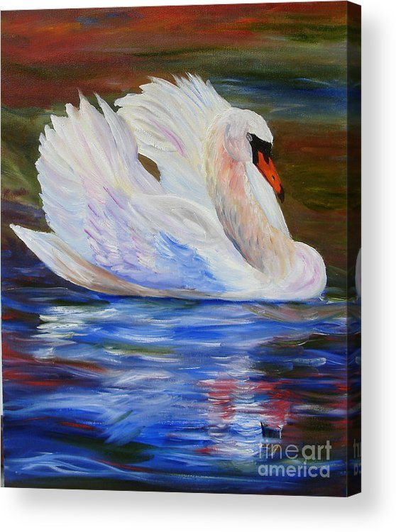 Swan Acrylic Print featuring the painting Swan Wildlife Painting by Mary Jo Zorad