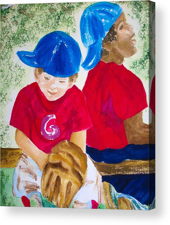Boys Acrylic Print featuring the painting T - Ball by Ruth Bevan