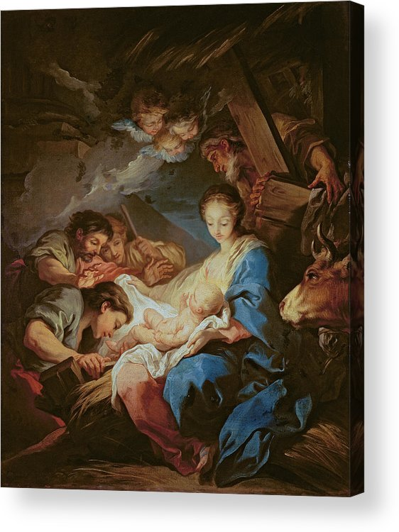 Light; Cherubs; Nativity Acrylic Print featuring the painting The Adoration Of The Shepherds by Charle van Loo