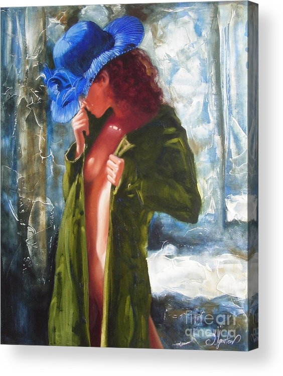 Art Acrylic Print featuring the painting The Blue Hat by Sergey Ignatenko