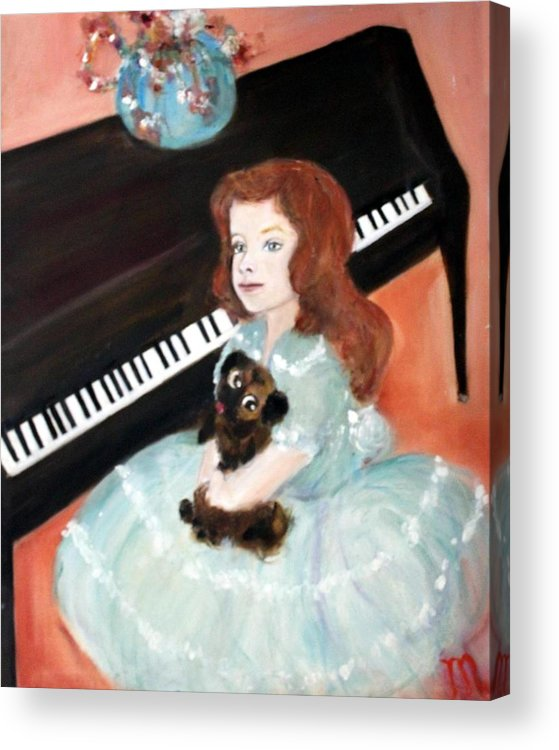 Piano Acrylic Print featuring the painting The Pianist And Her Pekinese by Michela Akers