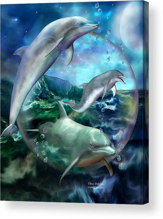 Dolphin Acrylic Print featuring the mixed media Three Dolphins by Carol Cavalaris
