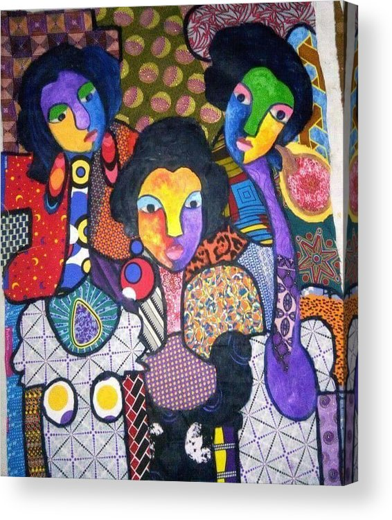 Contact Me On +23490336664790 Acrylic Print featuring the mixed media Three Sisters by Ferdinand Emeka