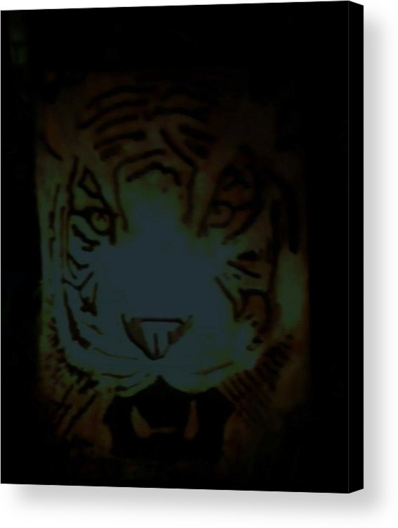 Tiger Acrylic Print featuring the relief Tramp by Calixto Gonzalez
