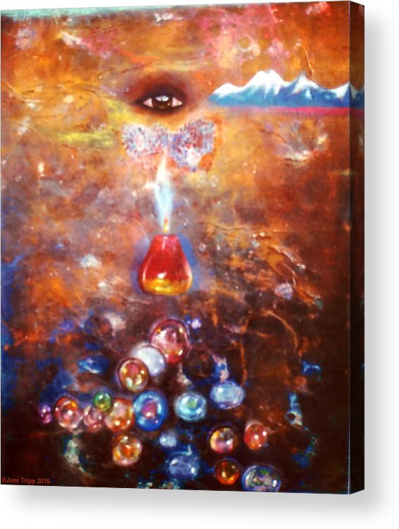 Mythic Art Acrylic Print featuring the painting Travel Pills by Jane Tripp