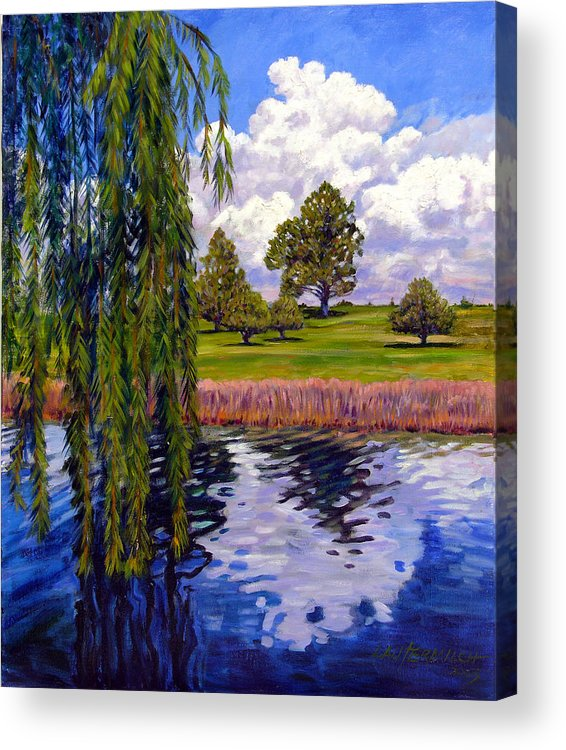 Landscape Acrylic Print featuring the painting Weeping Willow - Brush Colorado by John Lautermilch