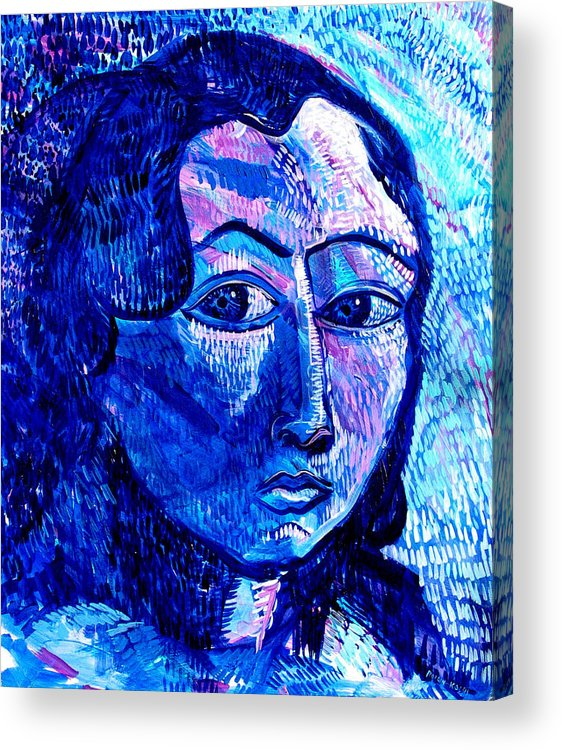 Blue Acrylic Print featuring the painting What Happens To Me Is What I Do by Rollin Kocsis