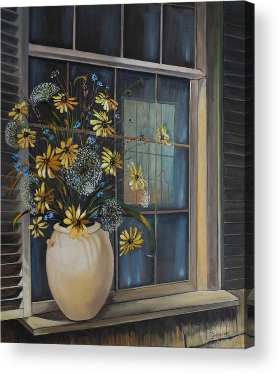 Wild Flowers Acrylic Print featuring the painting Window Dressing - Lmj by Ruth Kamenev