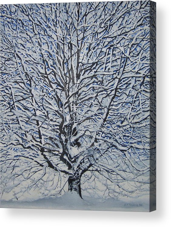 Winter Acrylic Print featuring the painting Winter '05 by Leah Tomaino