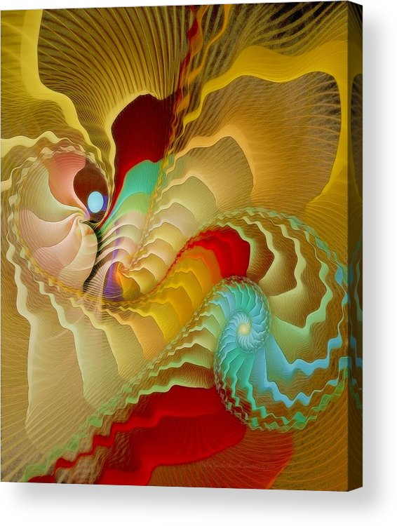 Fractal Acrylic Print featuring the digital art With A Gentle Breath by Gayle Odsather
