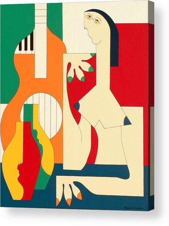 Women Music Modern Green Orange Bleu Gitar Acrylic Print featuring the painting Women And Music by Hildegarde Handsaeme