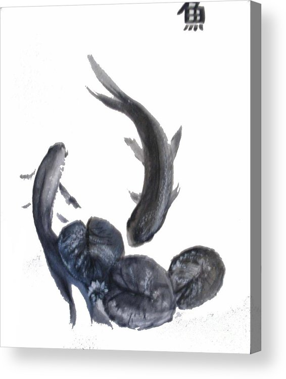 Fish Acrylic Print featuring the painting Yin And Yang by Sibby S
