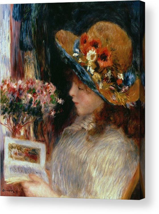 Young Girl Reading Acrylic Print featuring the painting Young Girl Reading by Pierre Auguste Renoir