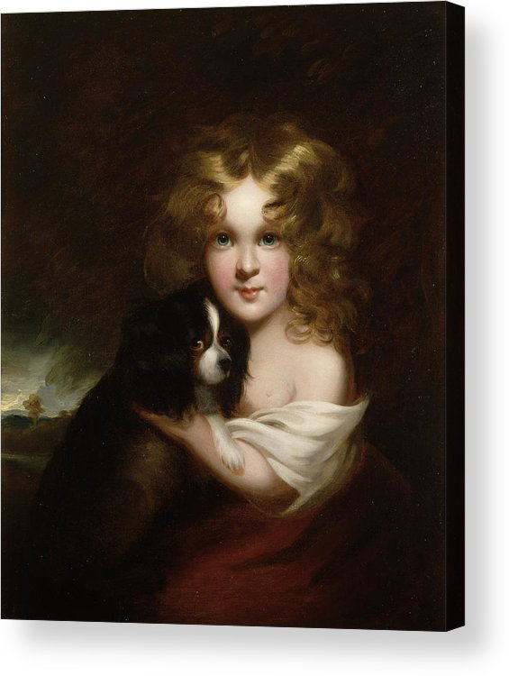 Young Acrylic Print featuring the painting Young Girl With A Dog by Margaret Sarah Carpenter