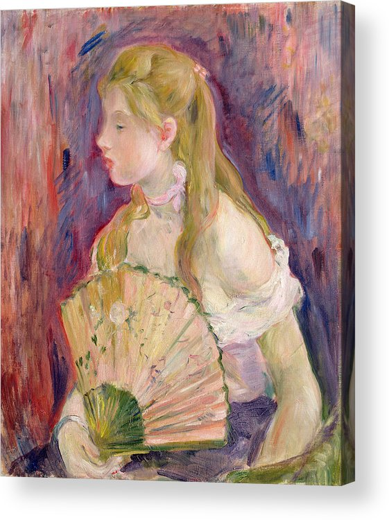 Young Acrylic Print featuring the painting Young Girl With A Fan by Berthe Morisot