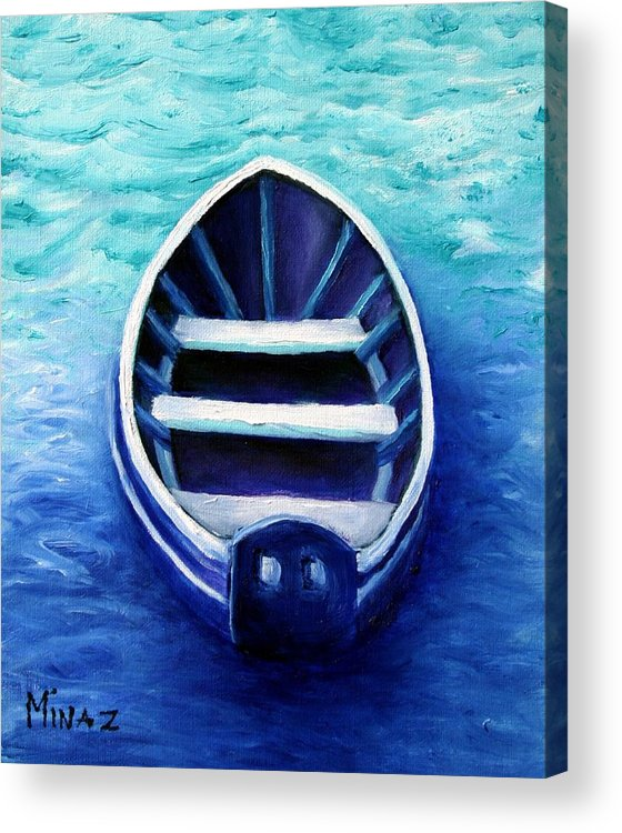Boat Acrylic Print featuring the painting Zen Boat by Minaz Jantz