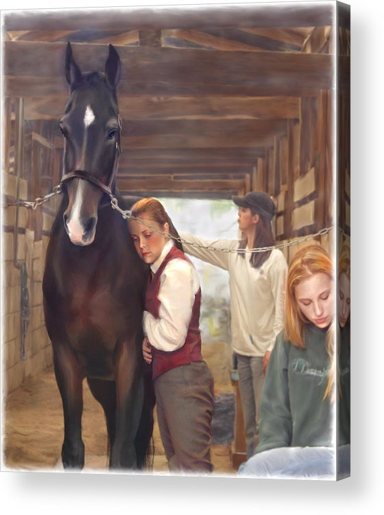 Horse Acrylic Print featuring the painting Aisle Hug Horse Show Barn Candid Moment by Connie Moses