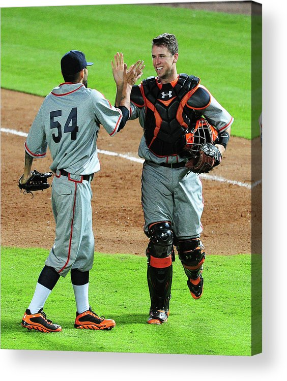 Atlanta Acrylic Print featuring the photograph Sergio Romo And Buster Posey by Scott Cunningham