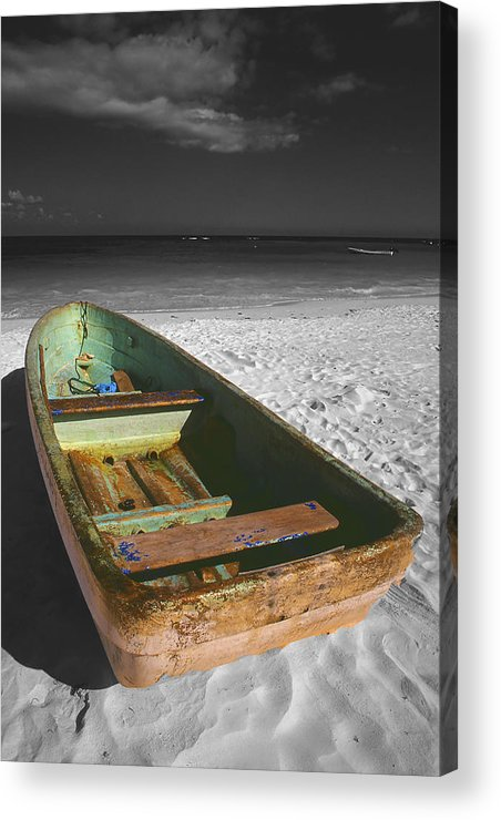 Photography Acrylic Print featuring the photograph Green Paddle Boat Playa Del Carmen by Tom Fant