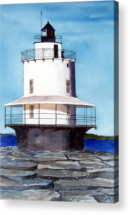 Landscape Acrylic Print featuring the print Spring Point Ledge Light by Anne Trotter Hodge
