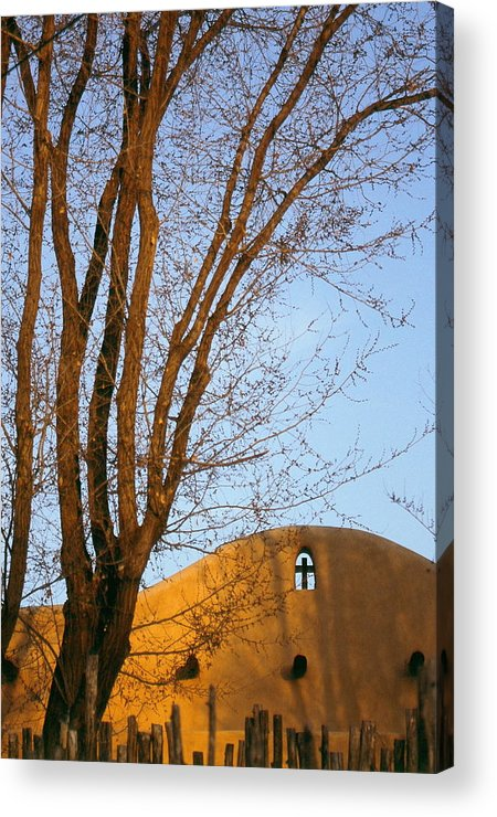 San Francisco De Taos Church With Cross And Trees Acrylic Print featuring the photograph The Cross by Lynard Stroud