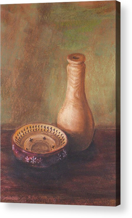 Still Life Acrylic Print featuring the painting Wooden Vase by Srilata Ranganathan